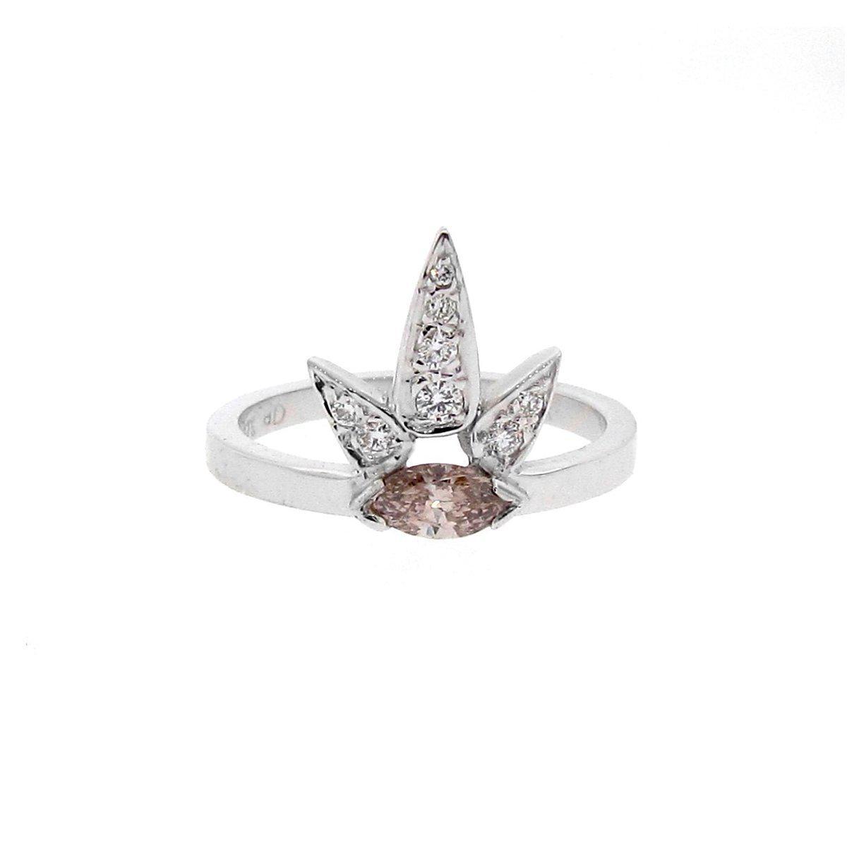 Argenton Design White Gold Diamond Lotus Ring - UK L - US 5 1/2 - EU 51 3/4 lMoKhNij