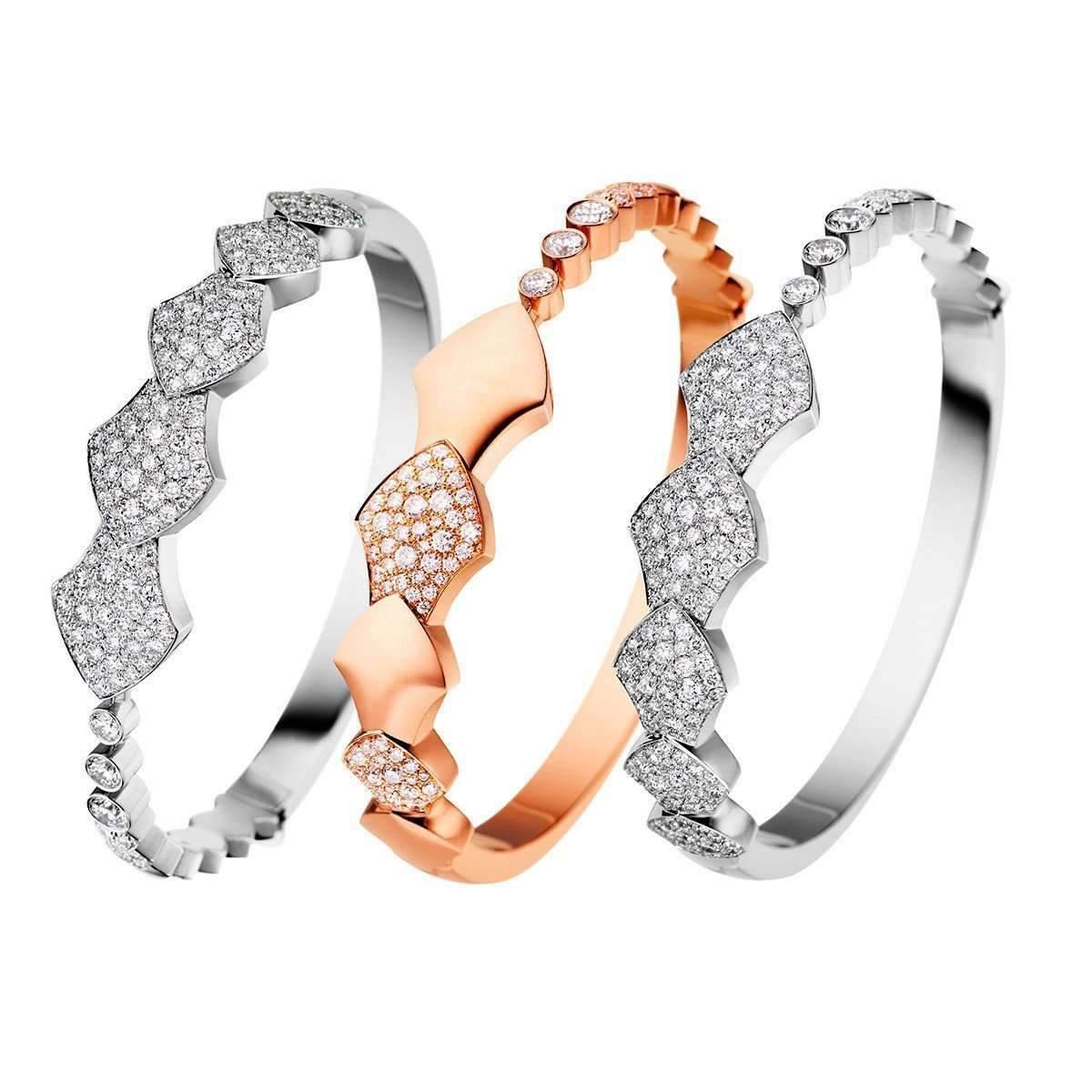 Akillis Python Rose Gold Half Set Diamond Bracelet e2l6cA