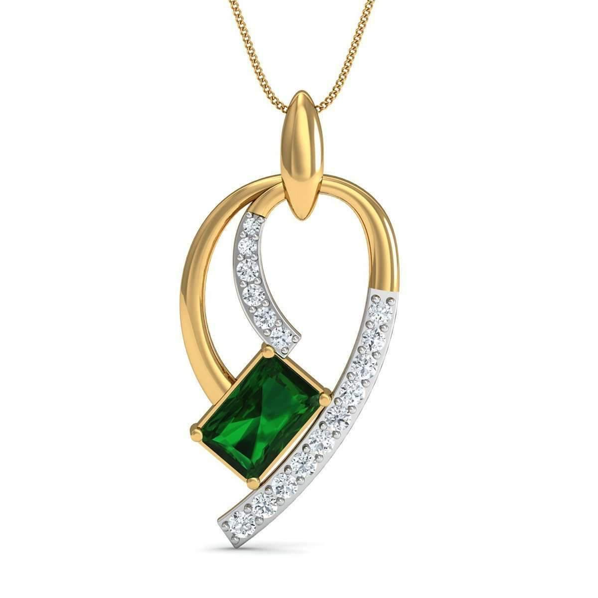 Diamoire Jewels Emerald Cut Emerald Pendant with Premium Diamonds in 18kt Yellow Gold 3B17uEHHx