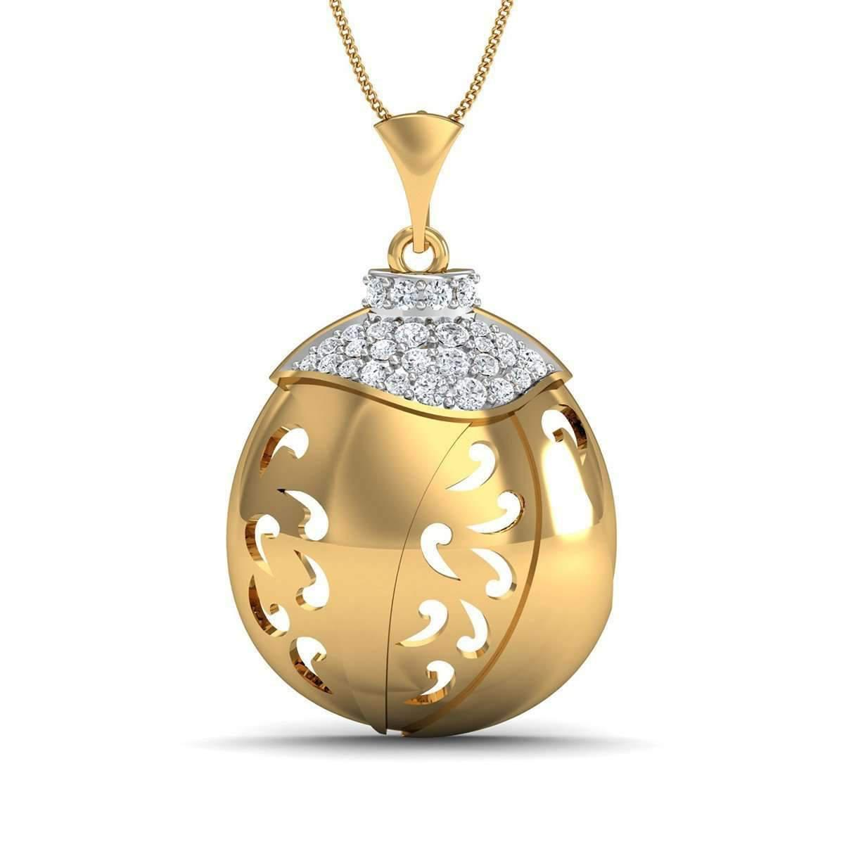 Diamoire Jewels Nature Inspired 18kt Rose Gold Pave Pendant Handset with Premium Diamonds KMjqXuhC