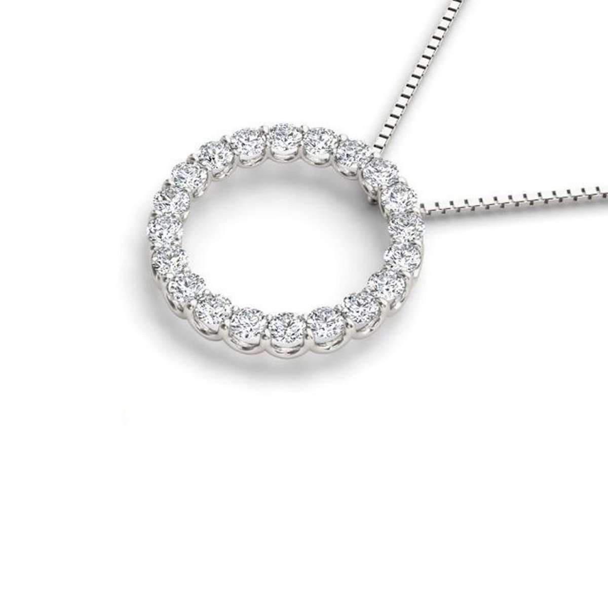 Diamoire Jewels Swarovski Zirconia Pendant in 10Kt White Gold Y9lQE