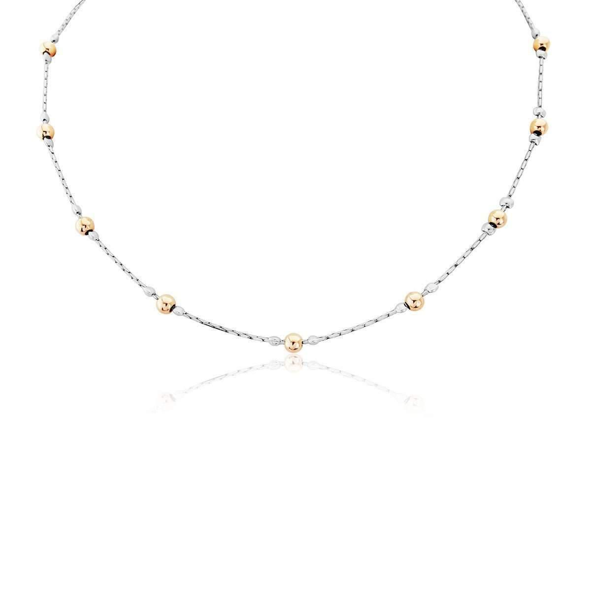 Lavan Sterling Silver & Gold Nugget Necklace - 16 Inches lSzzQSIw