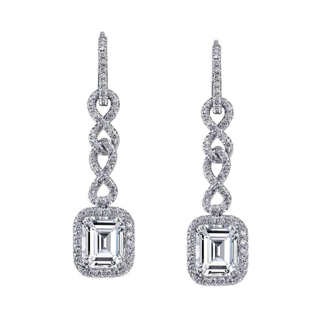 Harry Kotlar Alternating Hearts & Cushion Cut diamond Drop Earrings IQebdA