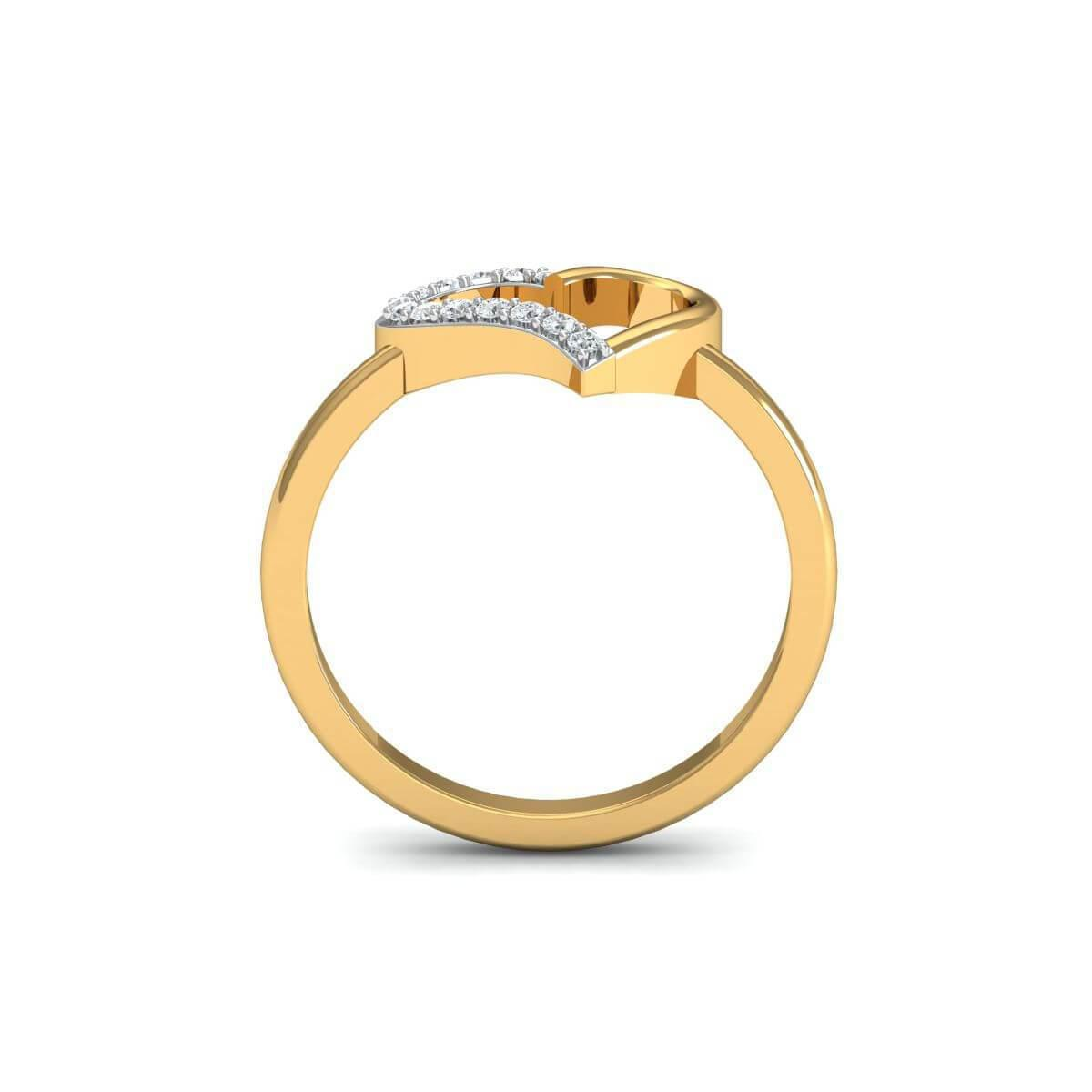 Diamoire Jewels 18kt Yellow Gold Pave 0.15ct Diamond Infinity Ring With Aquamarine - UK G - US 3 3/8 - EU 45 1/4 aEAFu7v