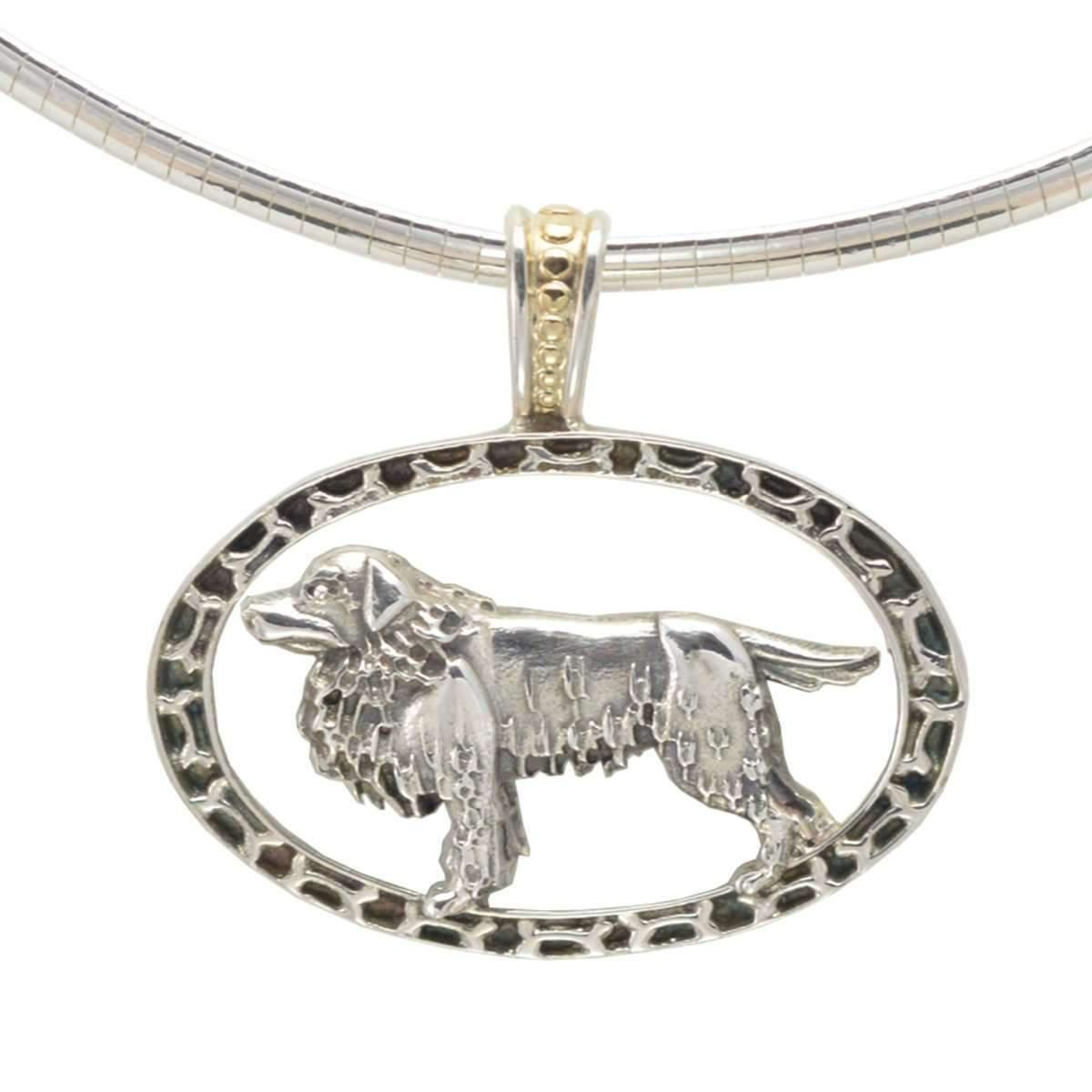 Donna Pizarro Designs Sterling Cavalier King Charles Necklace With 14kt Accent ZF7M1t