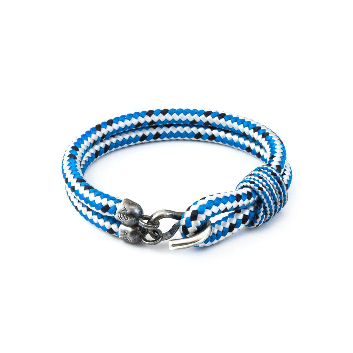 Anchor & Crew Blue Dash Liverpool Silver And Rope Bracelet - 21cm (most popular) IgbpodU