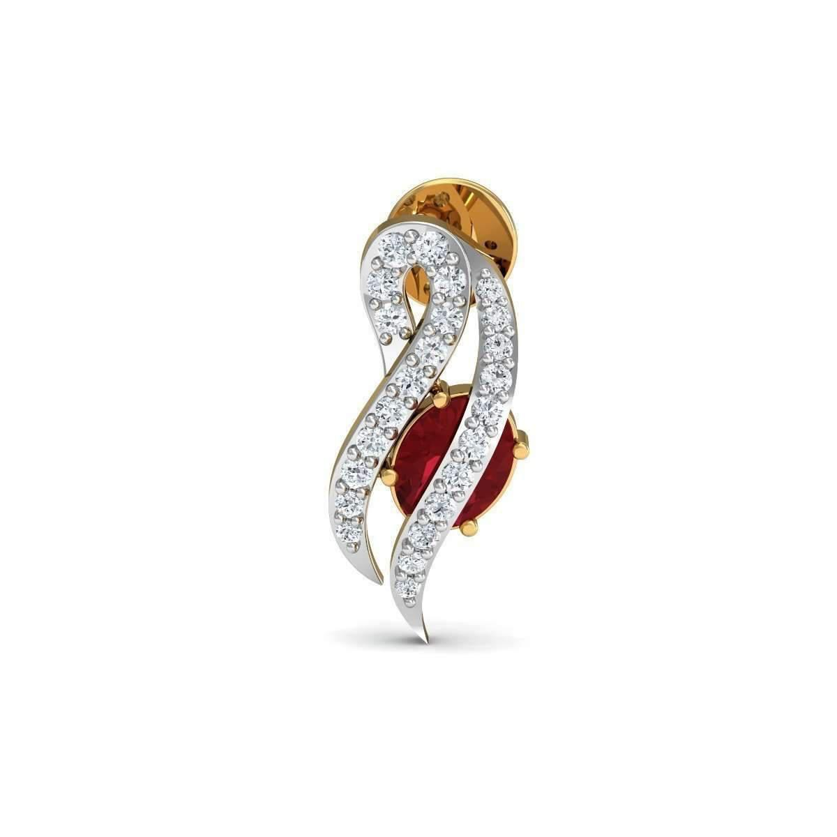 Diamoire Jewels Braided 18kt Yellow Gold Ruby And Diamond Stud Earrings hkjDN