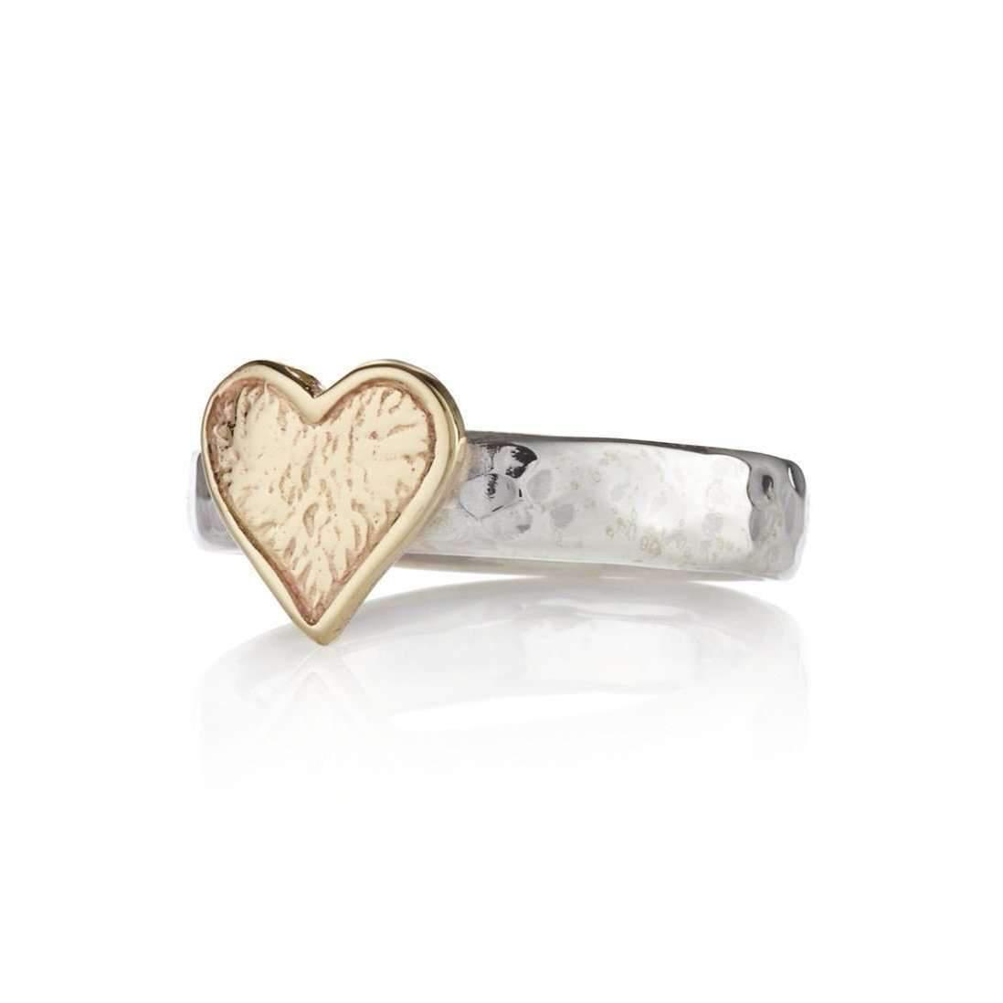 Lavan Heavy 9kt Gold & Hammered Sterling Silver Torq Ring - UK K 1/2 - US 5 3/8 - EU 50 3/4 dTGFmdW
