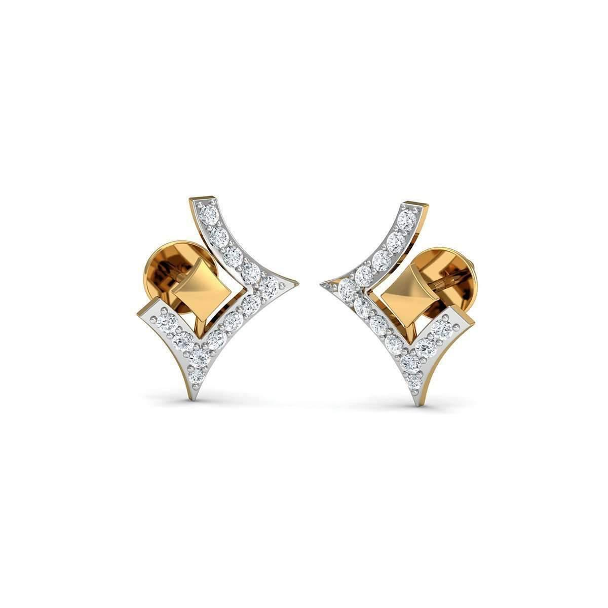 Diamoire Jewels Nature Inspired 10kt Yellow Gold and Diamond Pave Earrings AX6YI5NXA