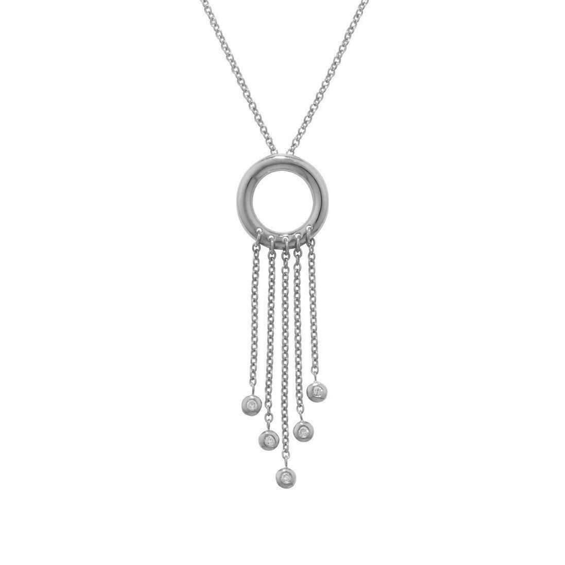 London Road Jewellery White Gold Diamond Geo Pendant Necklace - 0.07cts 8YQWcqoO4