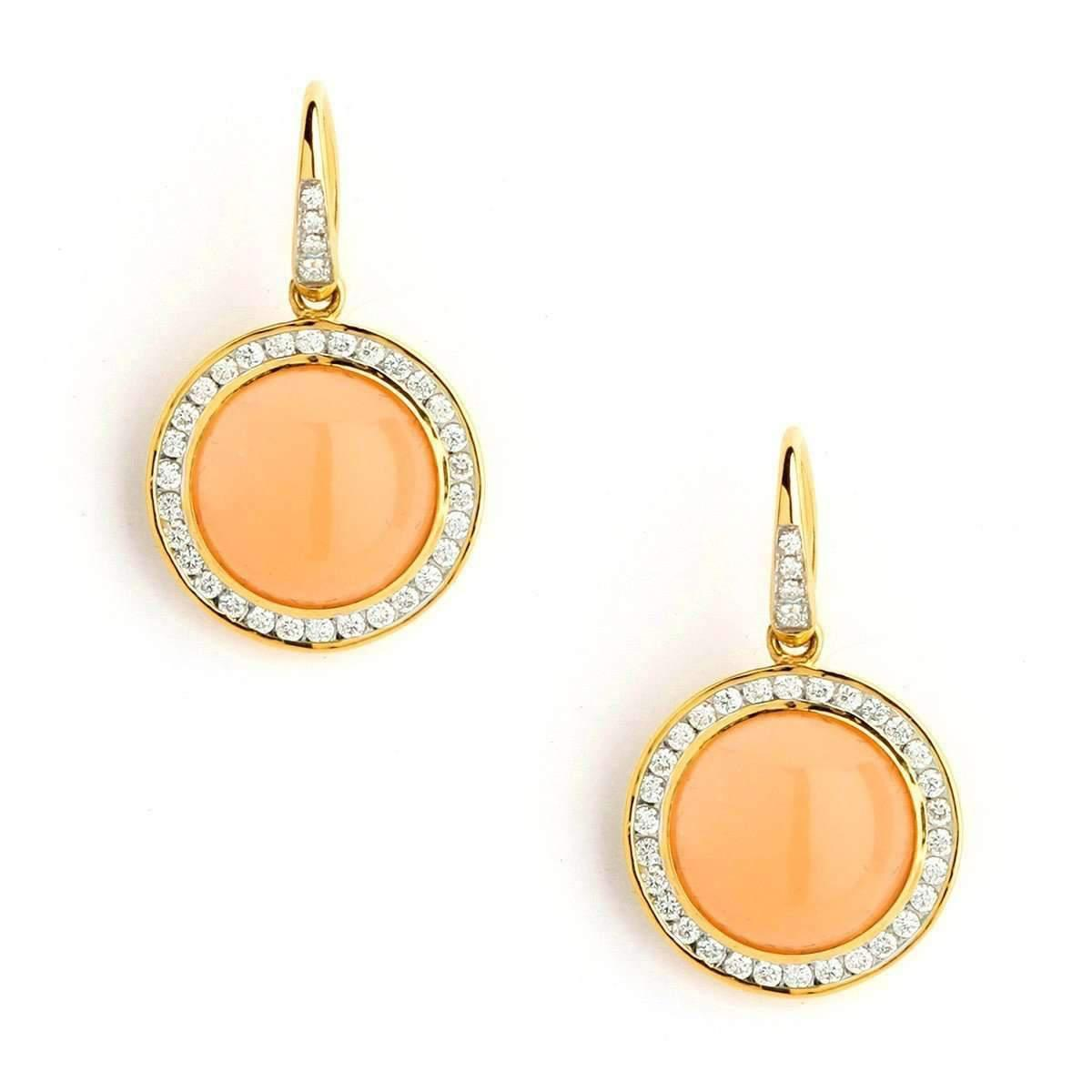 Syna 18kt Peach Moonstone Earrings With Diamonds