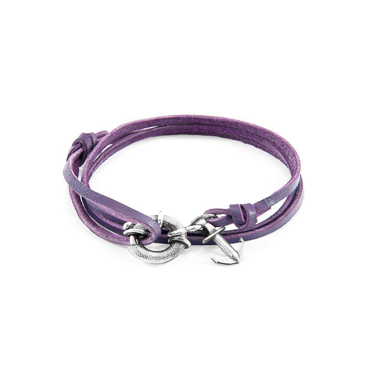 Anchor & Crew Grape Purple Clyde Silver and Leather Bracelet Fj3GDN