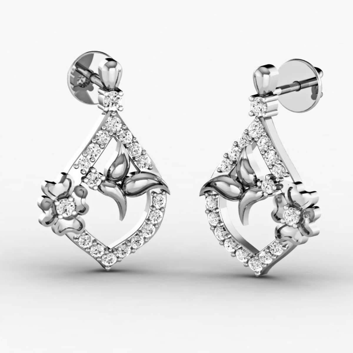 Diamoire Jewels Botanic 18kt White Gold Diamond Stud Earrings