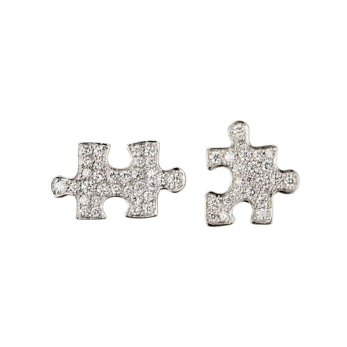 Akillis Puzzle White Gold With Diamonds Clip Earrings DorVN