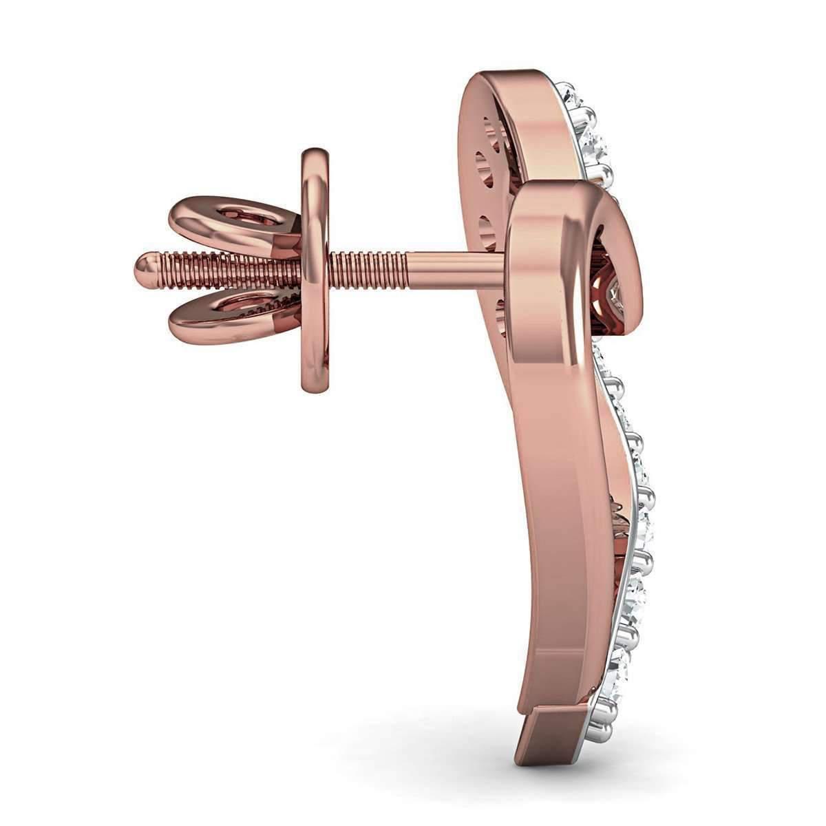 Diamoire Jewels 18kt Rose Gold Romance Inspired Designer Diamond Earrings ZMSIwI