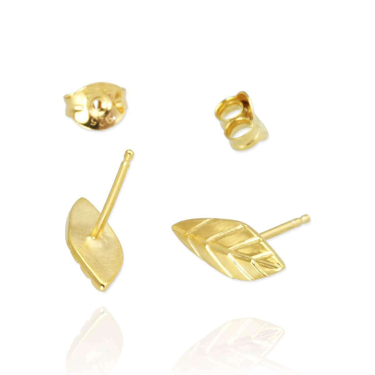 Jana Reinhardt Yellow Gold Plated Leaf Stud Earrings msMPe7Ohh4