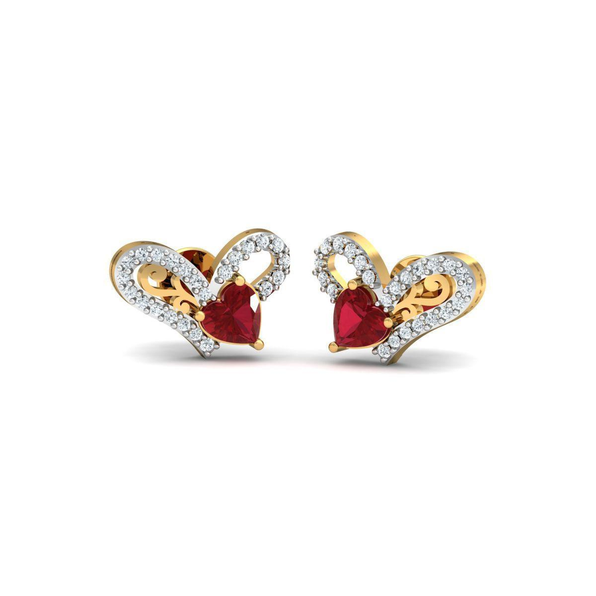 Diamoire Jewels 18kt Yellow Gold 0.22ct Pave Diamond Infinity Earrings With Ruby II KgGFgyXk