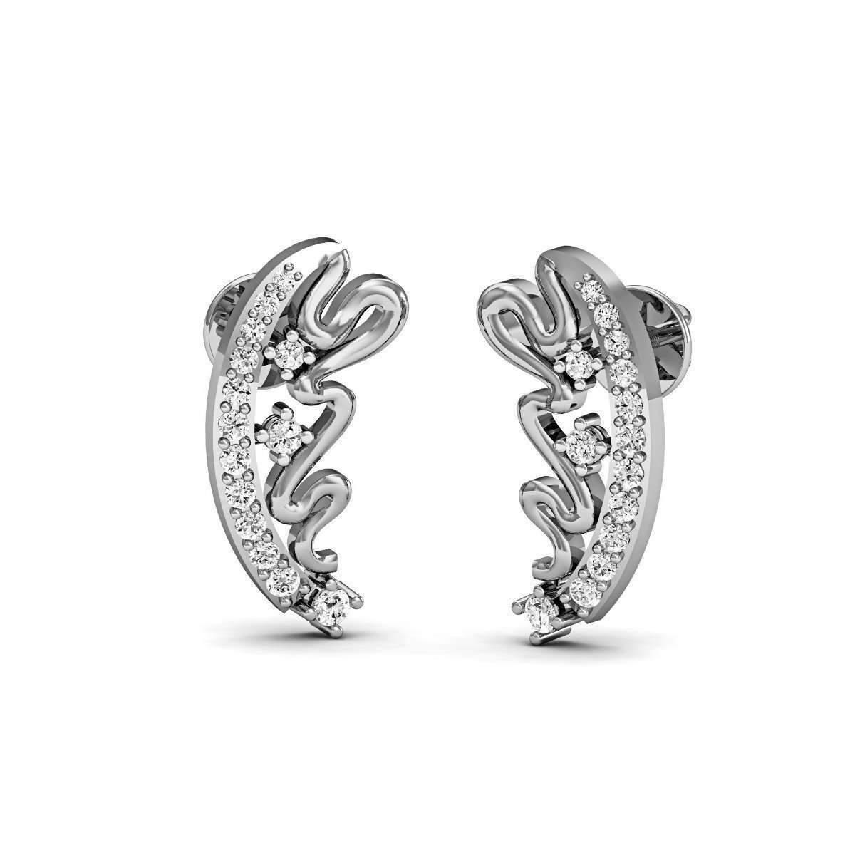 Diamoire Jewels Hand-carved Earrings in 18kt White Gold with Round Cut Diamonds gwhoM9