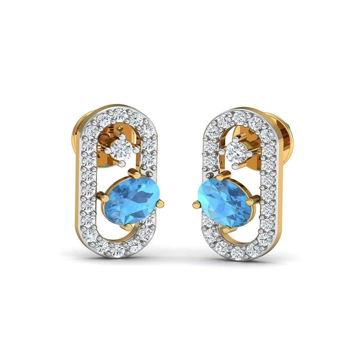 Diamoire Jewels Oval Cut Blue Sapphire and Diamond Earrings in 10kt Yellow Gold 7eJGXUAahn