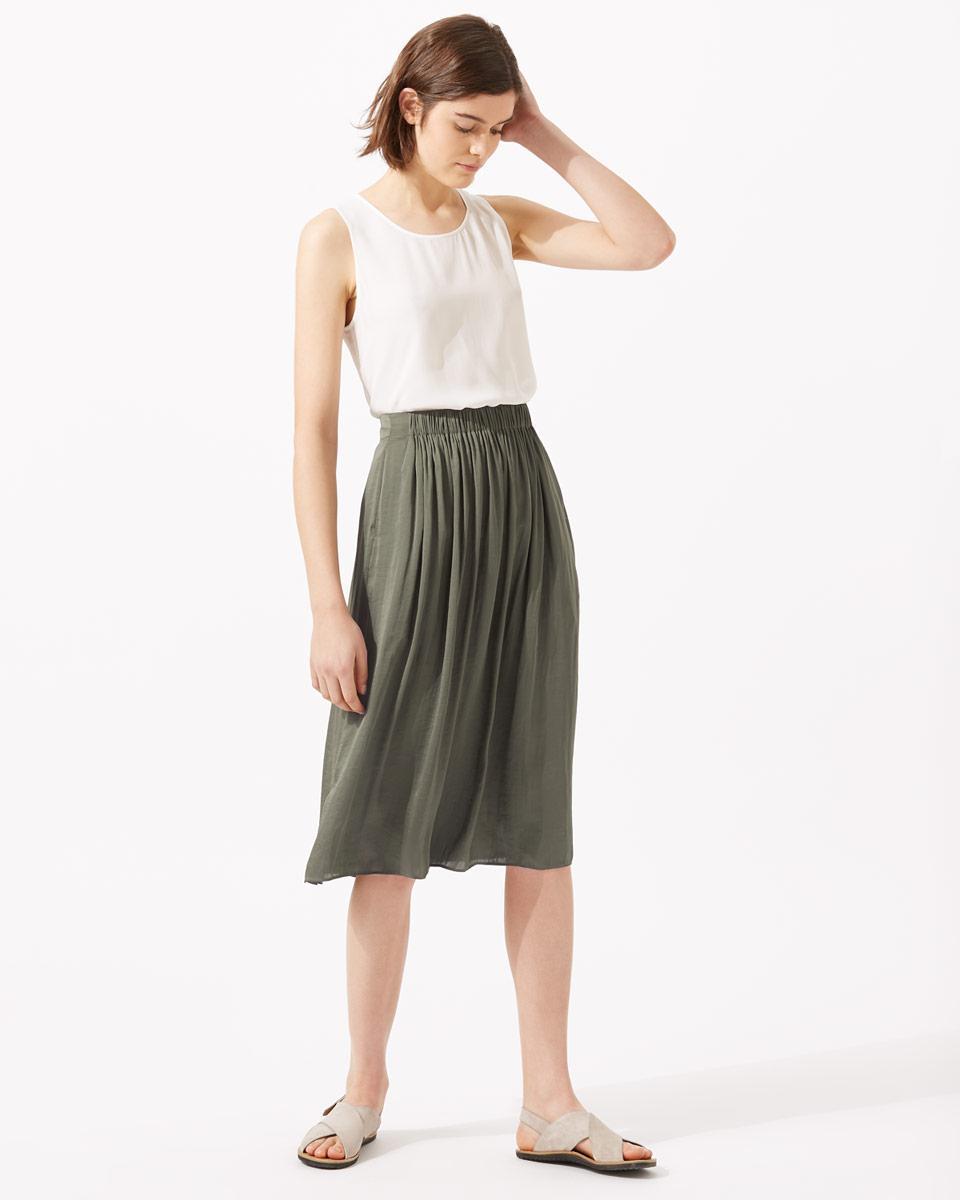 9ecfda4cfb Jigsaw Crocus Drape Gathered Midi Skirt in Green - Lyst