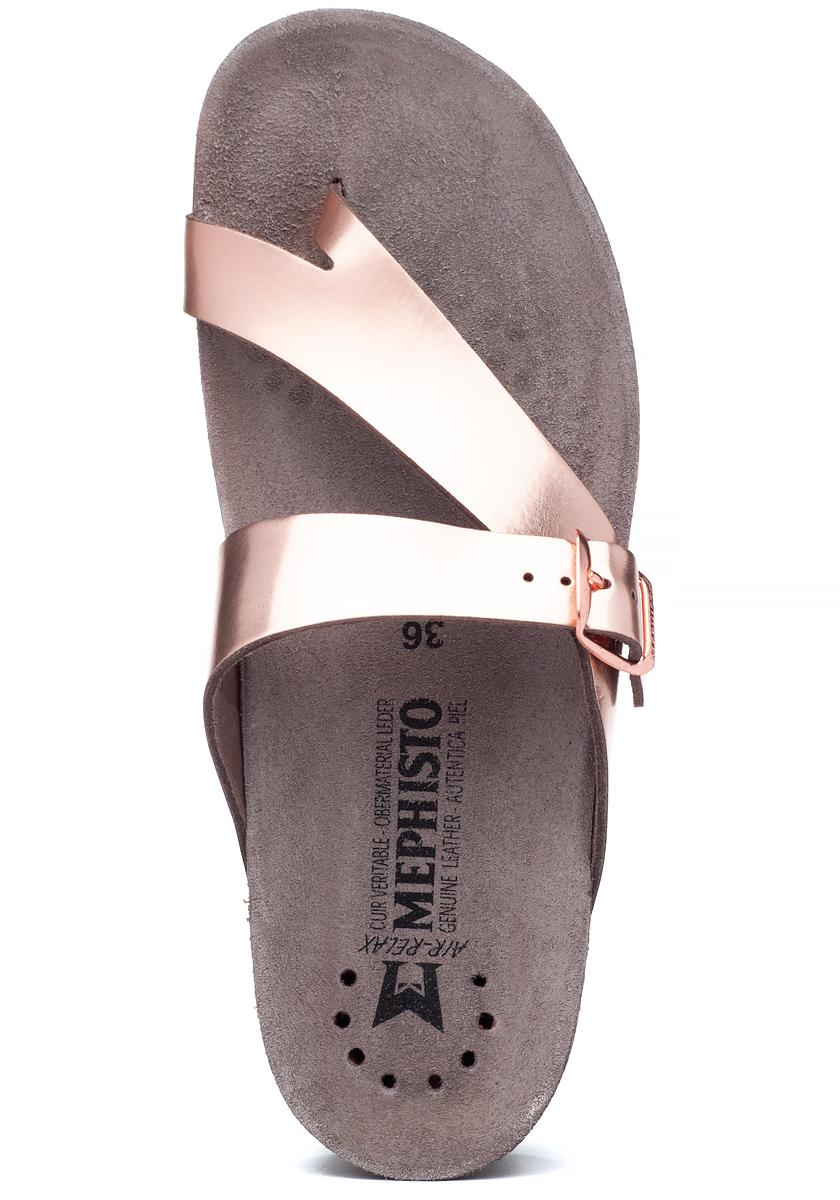 ed57f39bb1 Mephisto Helen Sandal Rose Gold Leather in Pink - Lyst