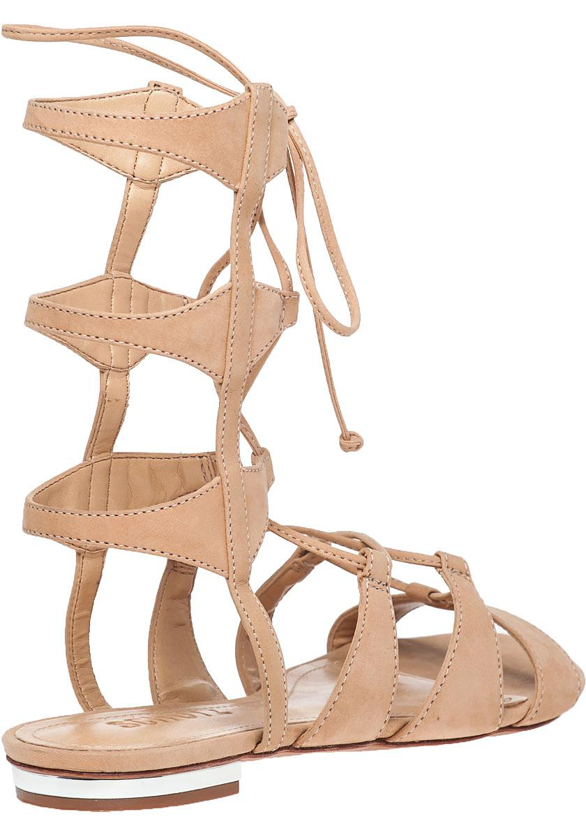 91a943a601ee Lyst - Schutz Erlina Lace-Up Leather Sandals in Natural