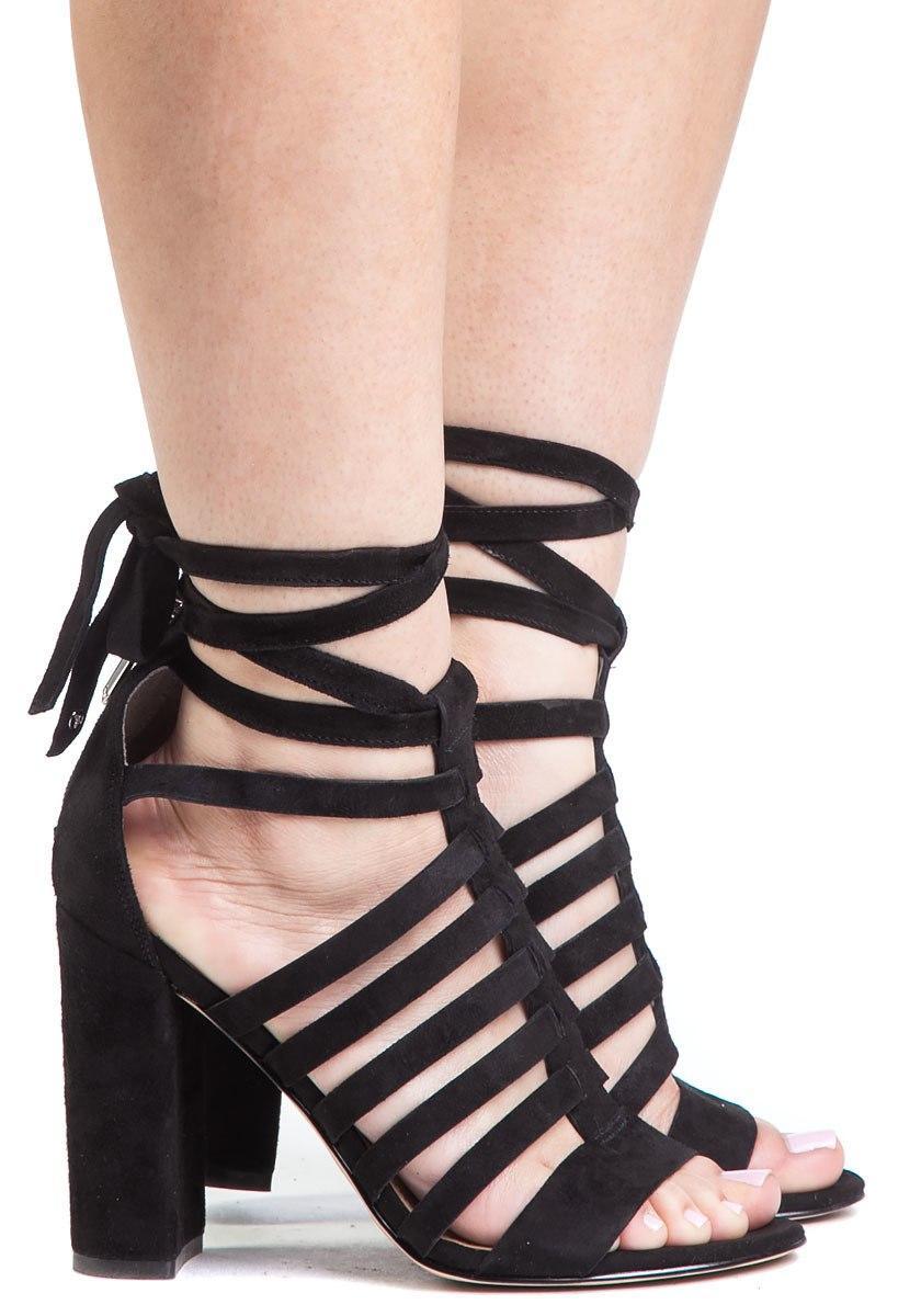 d95b9cd596cf Sam Edelman Yarina Black Suede Lace Up Sandal in Black - Lyst