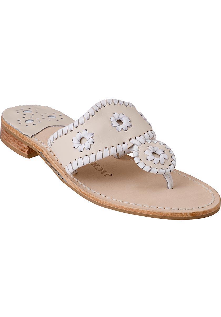 2a0f856c9aa8 Lyst - Jack Rogers Palm Beach Thong Sandal White bone Leather in White