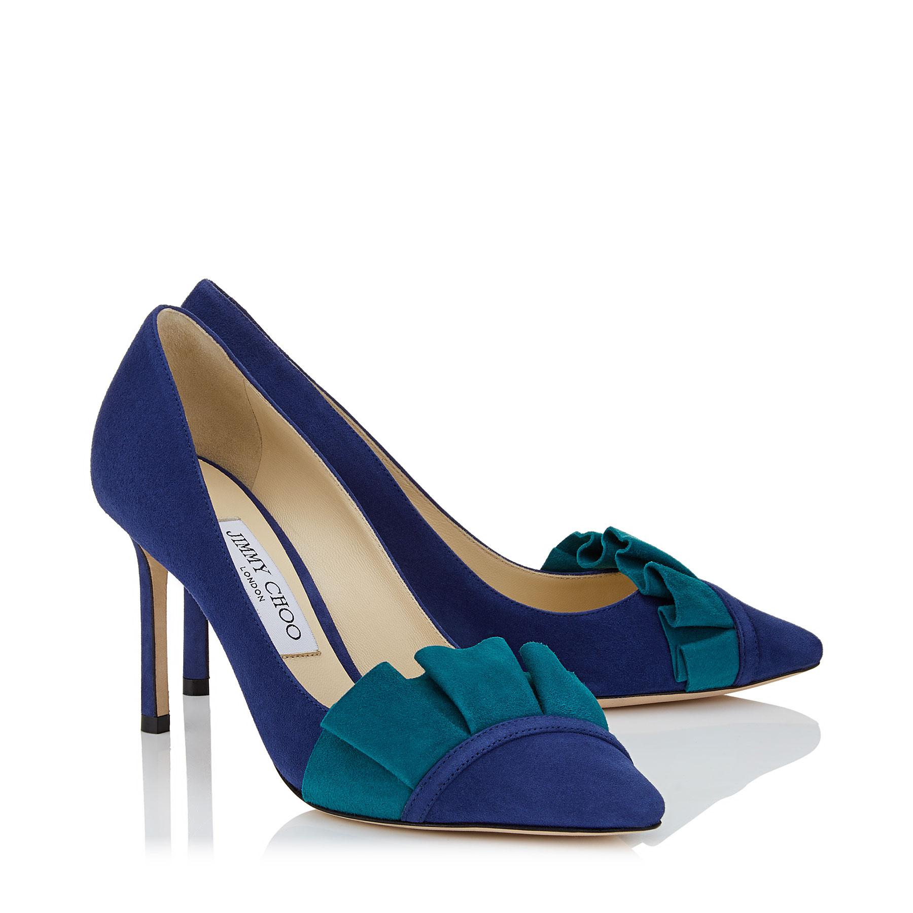 99f18a8cca5 ... Pop Blue Suede Pump With Teal Suede Frill - Lyst. View fullscreen