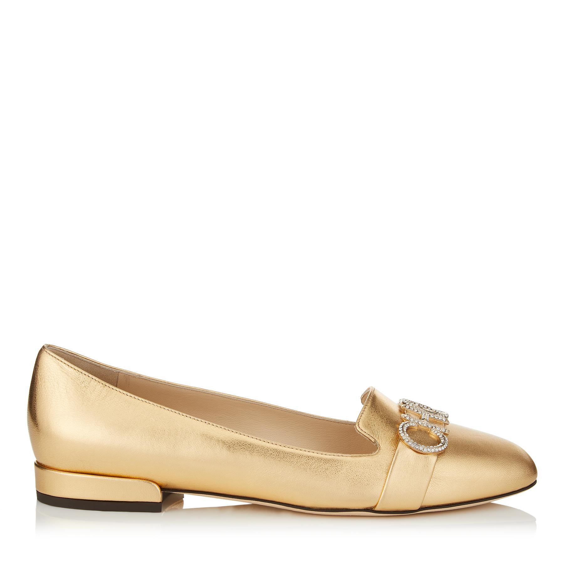 3a4f13dbe0f9 Lyst - Jimmy Choo Jaden Flat Gold Metallic Leather Round Toe ...