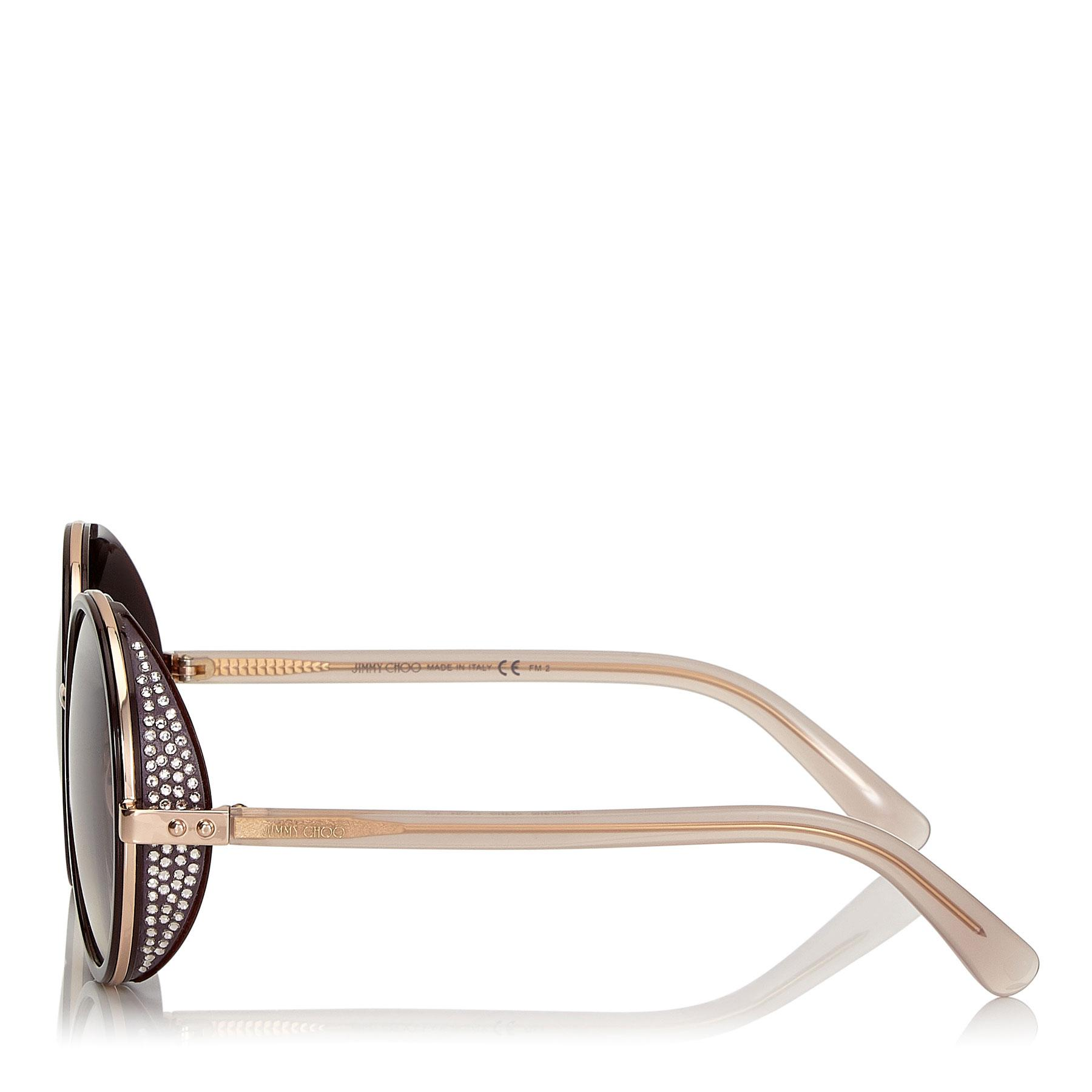 e6c51199bdc Jimmy Choo - Metallic Andie Burgundy And Copper Gold Metal Round Framed  Sunglasses With Crystal Detailing. View fullscreen