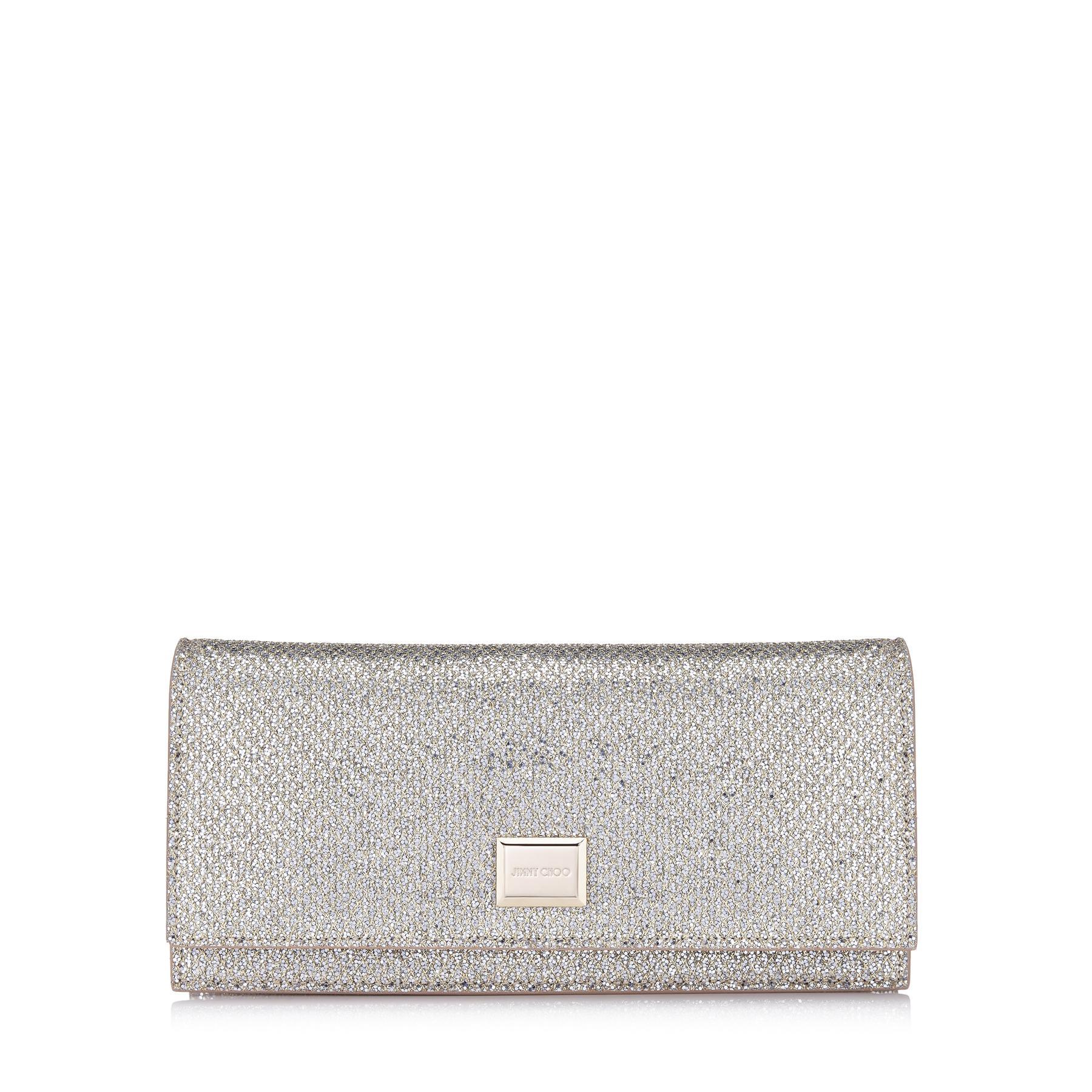 4553d279427 Lyst - Jimmy Choo Lilia Champagne Glitter Fabric Mini Bag in Metallic
