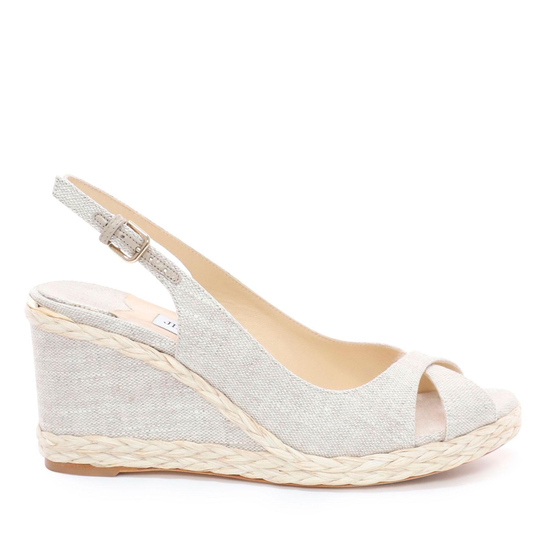 749fee7934 Jimmy Choo Amely 80 Natural Linen Wedges With Braid Trim Natural 34 ...
