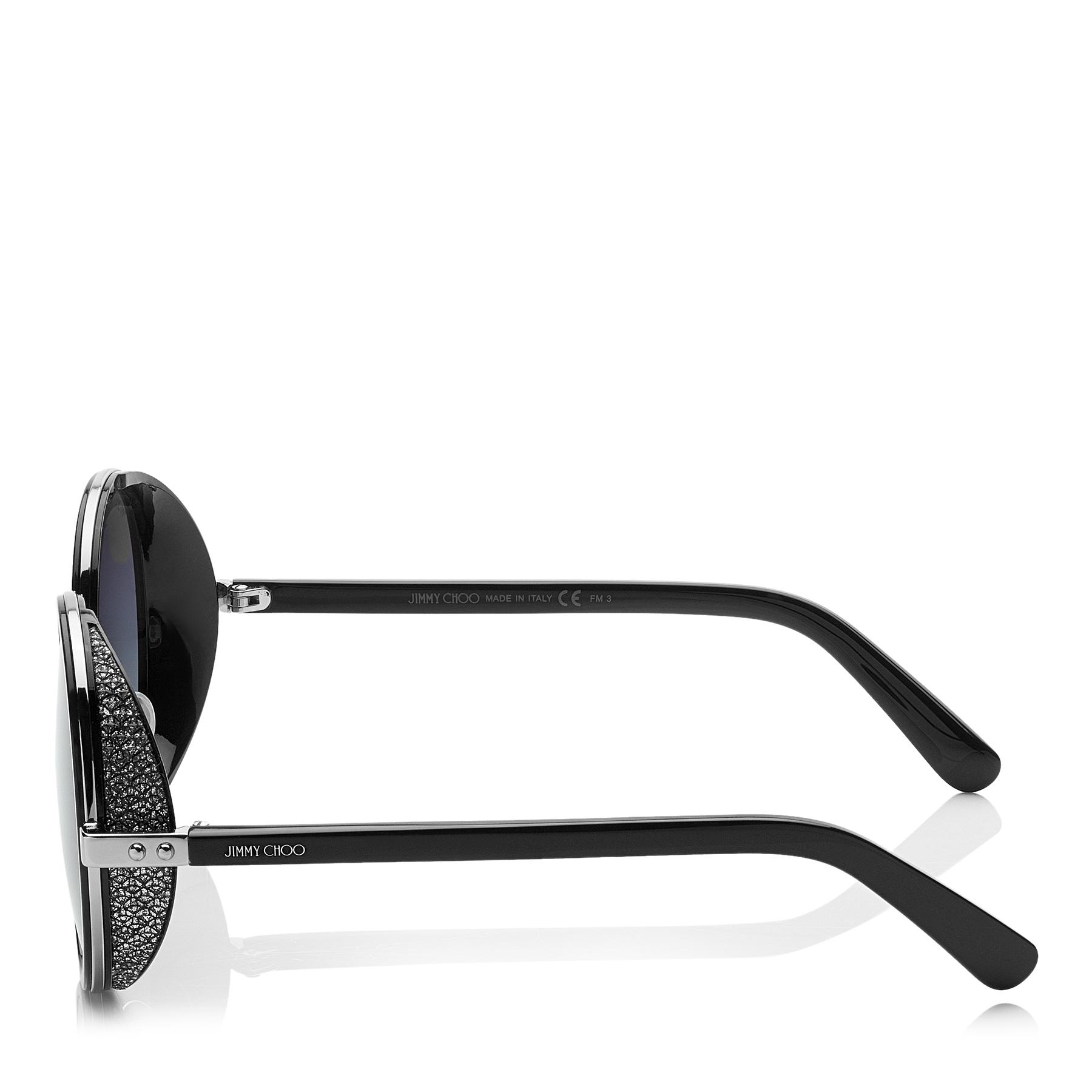 f9d2a726266 Jimmy Choo - Multicolor Andie Black Acetate Round Framed Sunglasses With  Silver Lurex Detailing - Lyst. View fullscreen