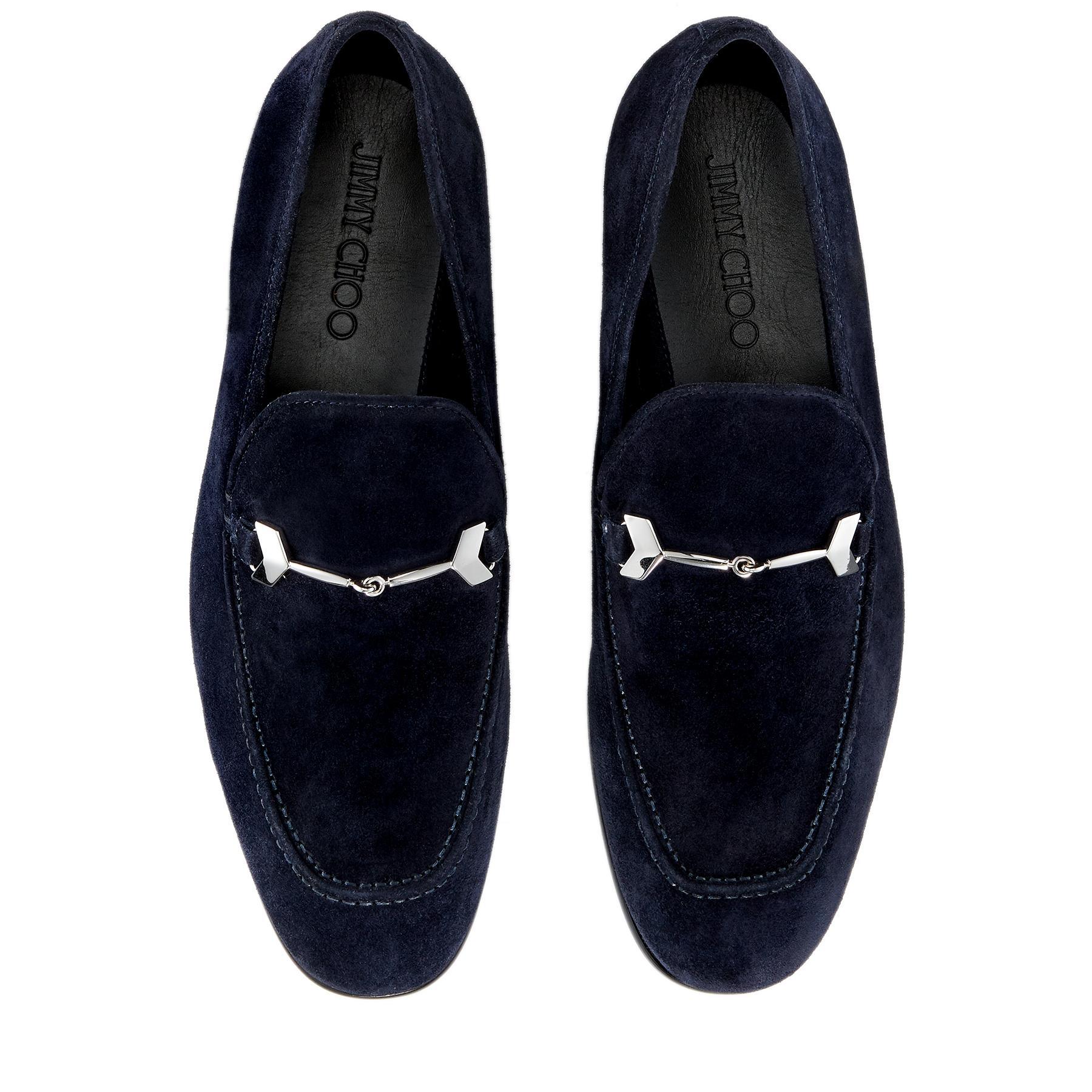 e4dae40b7b1 Jimmy Choo - Blue Marti Navy Velvet Suede Loafers for Men - Lyst. View  fullscreen
