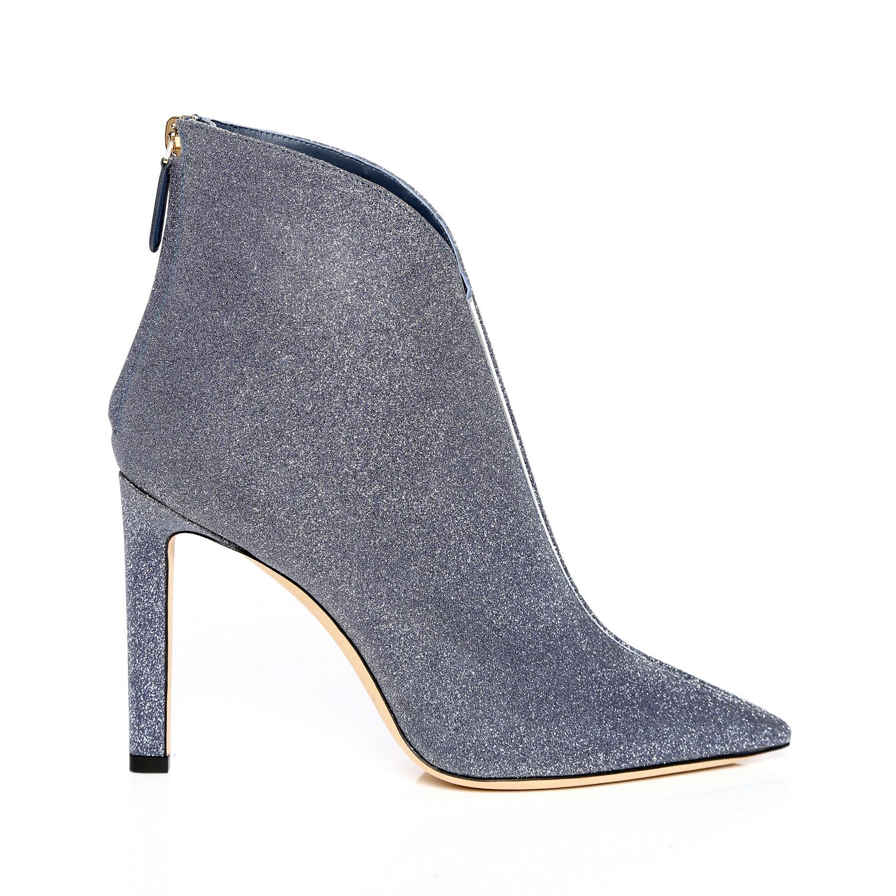9cb814b3a2d Lyst - Jimmy Choo Bowie Glitter Stiletto Booties in Blue