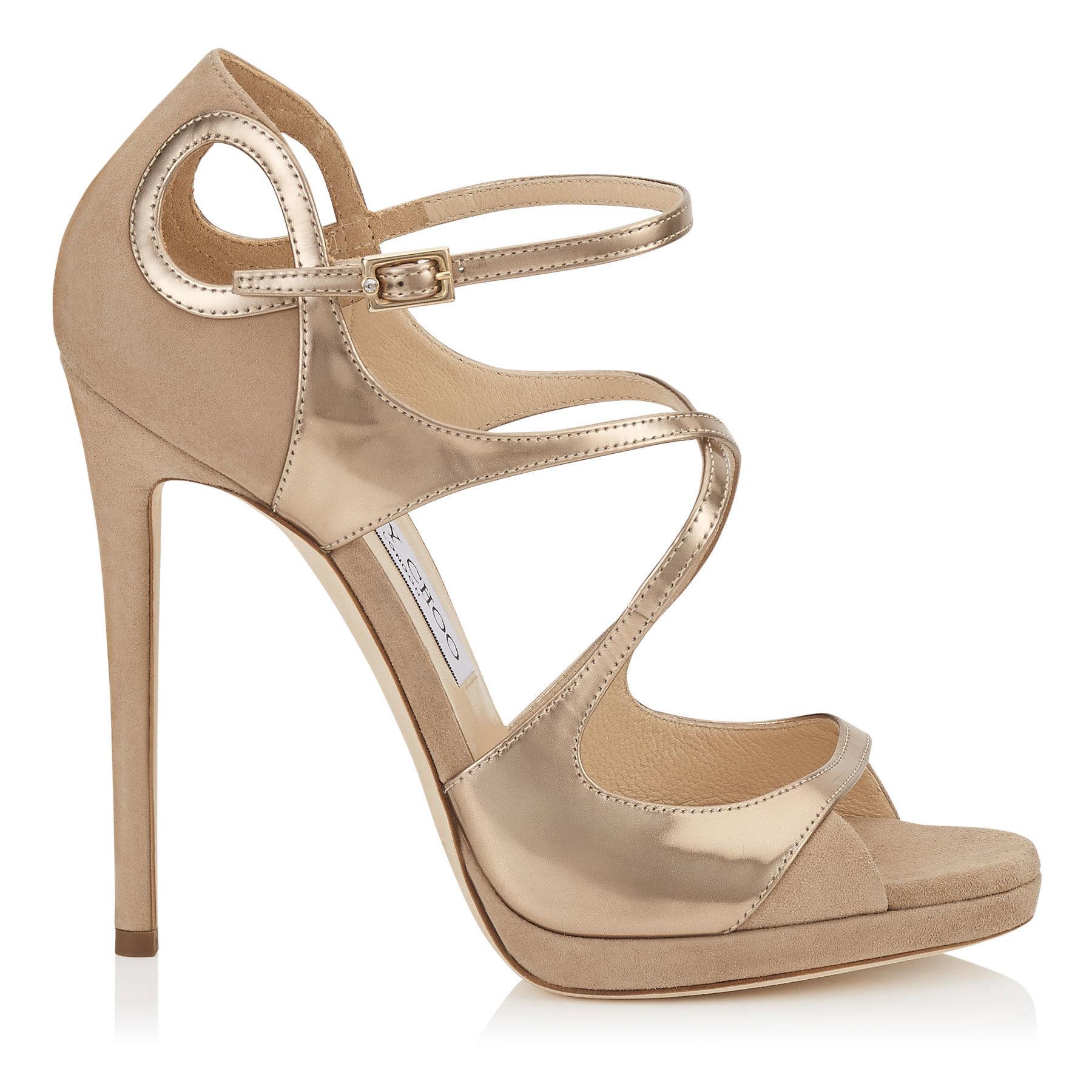 507535b59c78 Jimmy Choo Patent Zigzag Anklewrap Sandal in Natural - Lyst