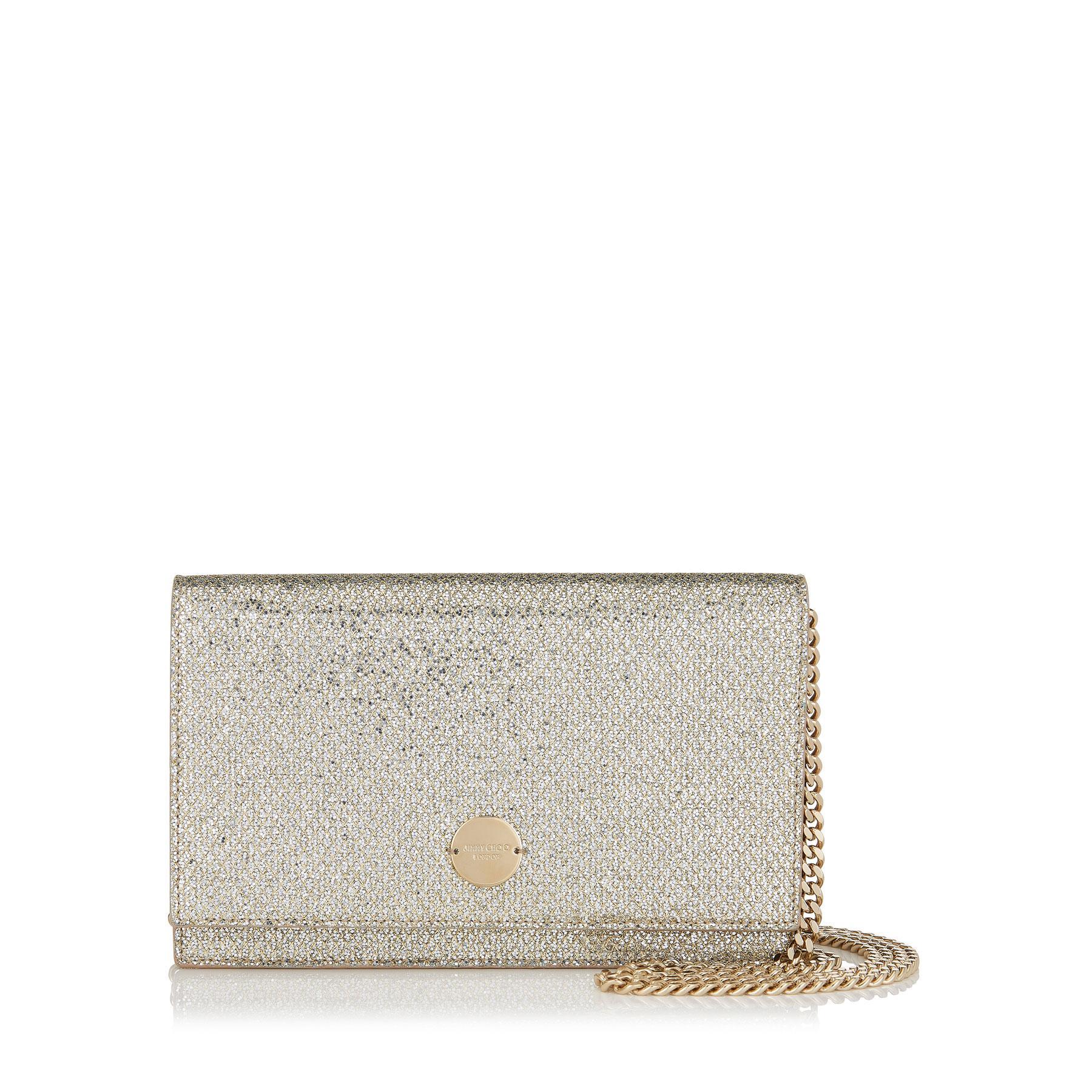 654743cbd84 Jimmy Choo Florence Champagne Glitter Fabric Clutch Bag in Metallic ...