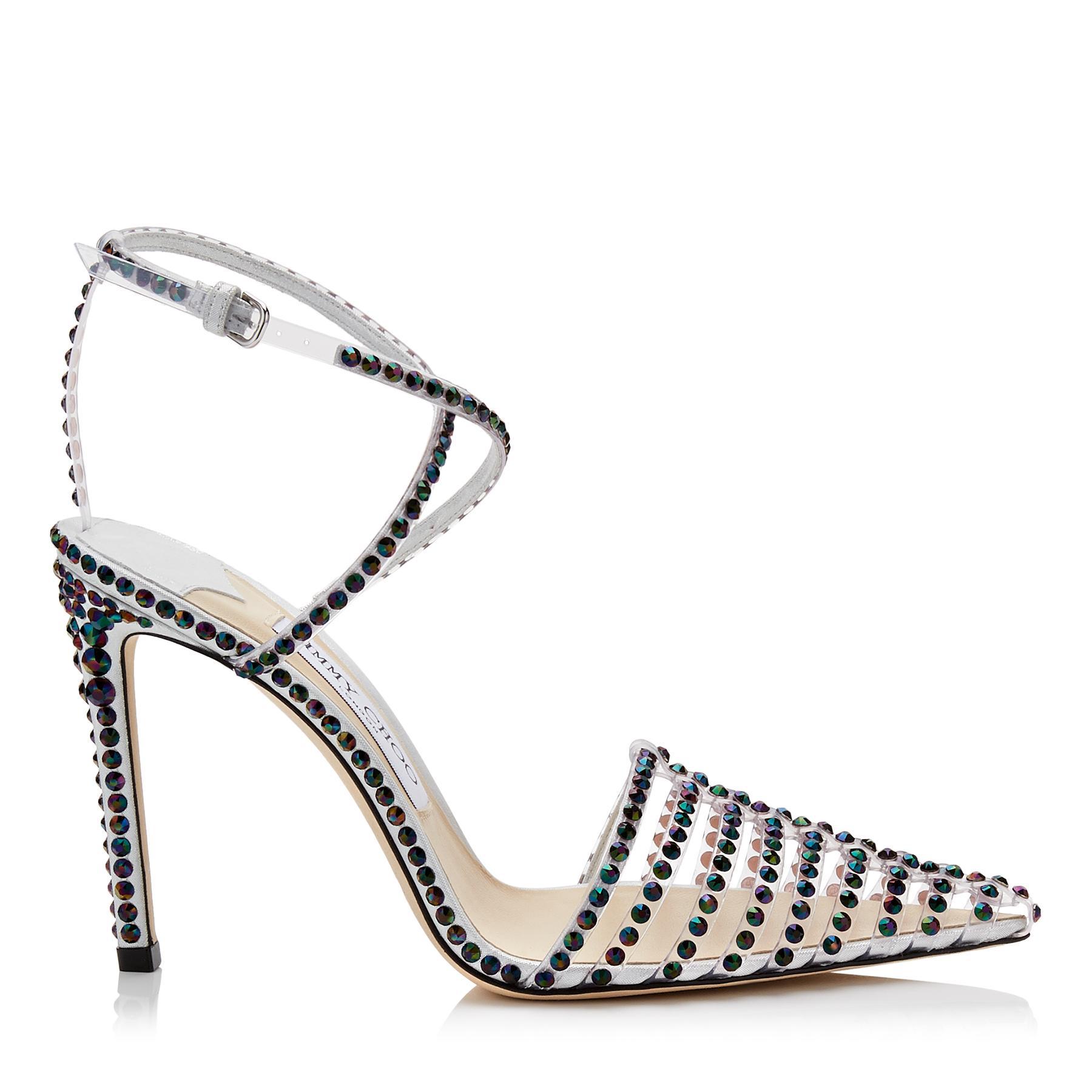 8dc1e81dd85 Lyst - Jimmy Choo Tamai 100 Clear Plexi Heels With Horizontal Straps ...