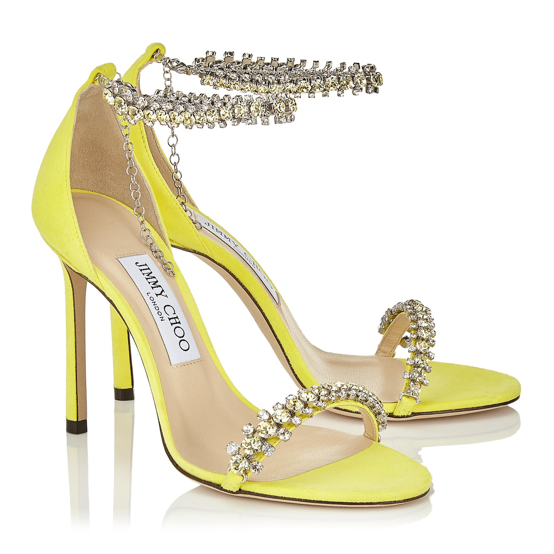 c8a6d6a9fb1c Lyst - Jimmy Choo Shiloh 100 Fluorescent Yellow Suede Open Toe ...