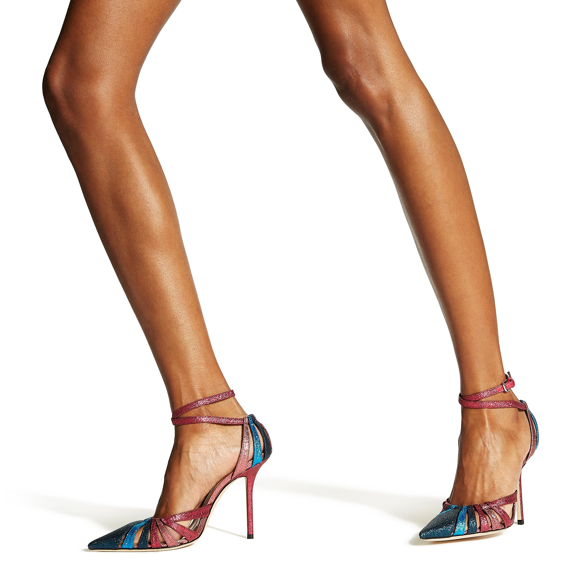 93bed17e29 Jimmy Choo Travis 100 Raspberry Mix Glitter Fabric Strappy Pump With ...