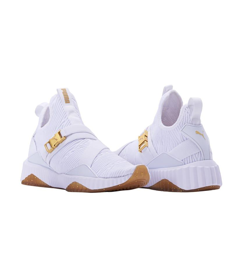 951a9fa0720241 PUMA Women s Defy Varsity Knit Mid Top Sneakers in White - Lyst