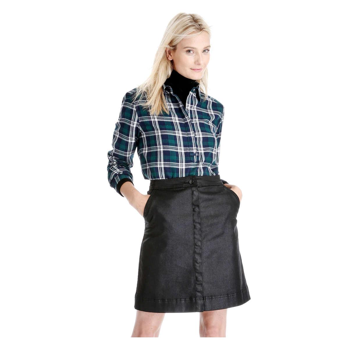 joe fresh coated denim skirt in black lyst