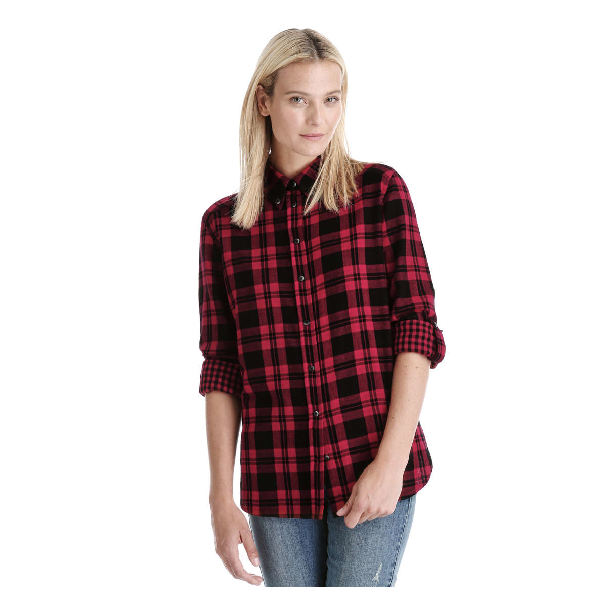 Joe fresh plaid button down shirt in red lyst for Plaid button down shirts for women