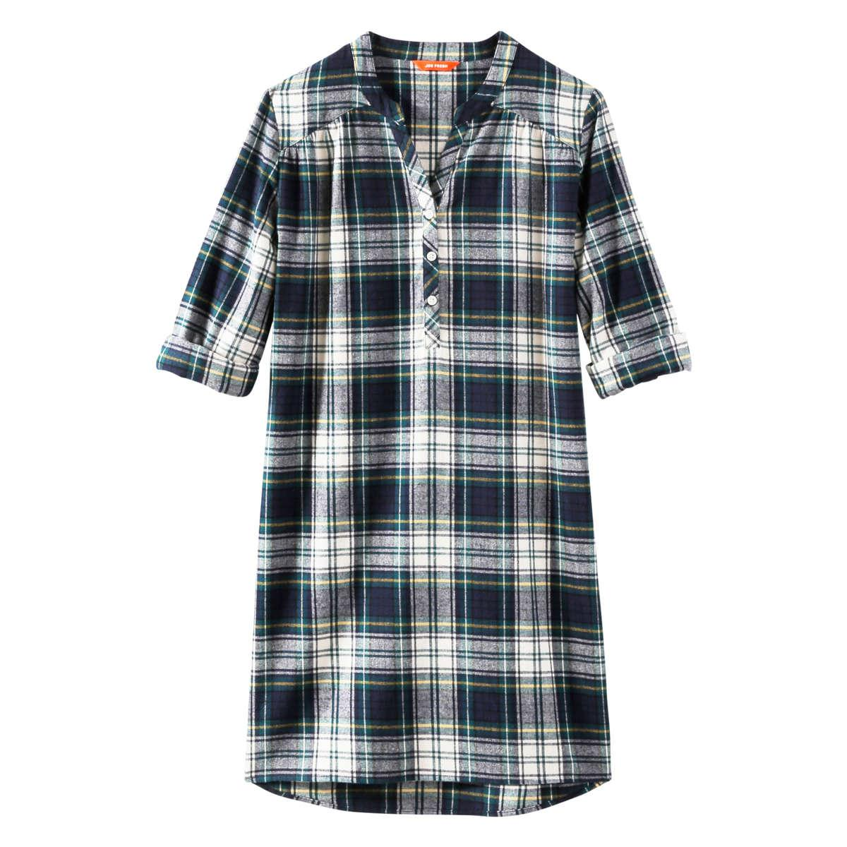 Lyst joe fresh flannel sleep shirt in blue for Women s flannel sleep shirt