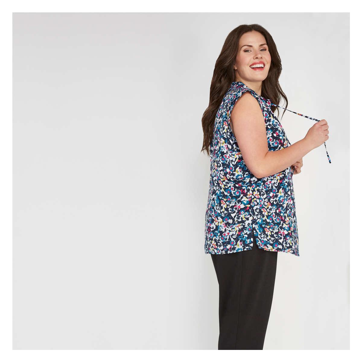 0110f277d3c52 Joe Fresh - Blue Women+ Floral Tie Neck Sleeveless Blouse - Lyst. View  fullscreen