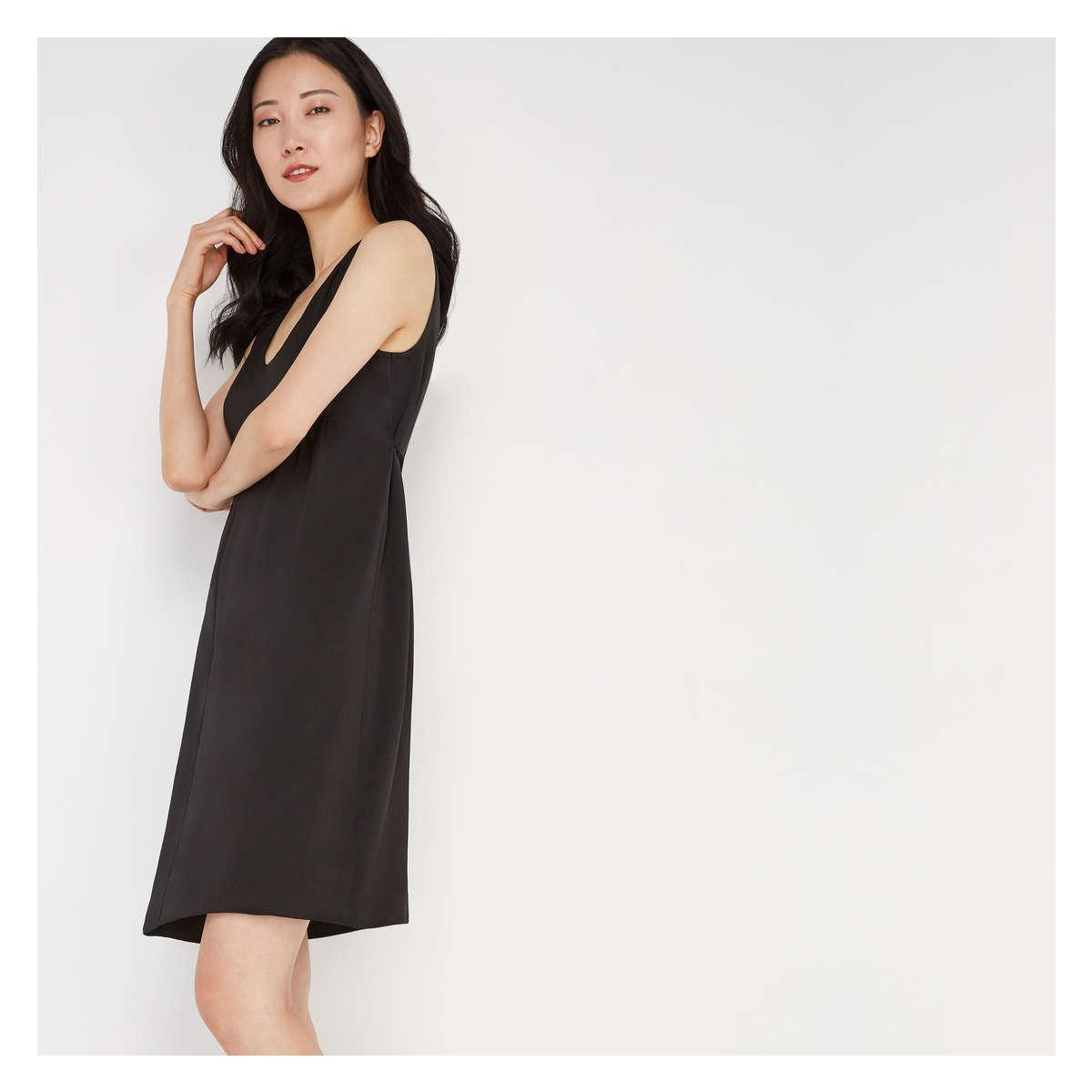 57a826db3fb72 Lyst - Joe Fresh Hammered Satin Sleeveless Dress in Black