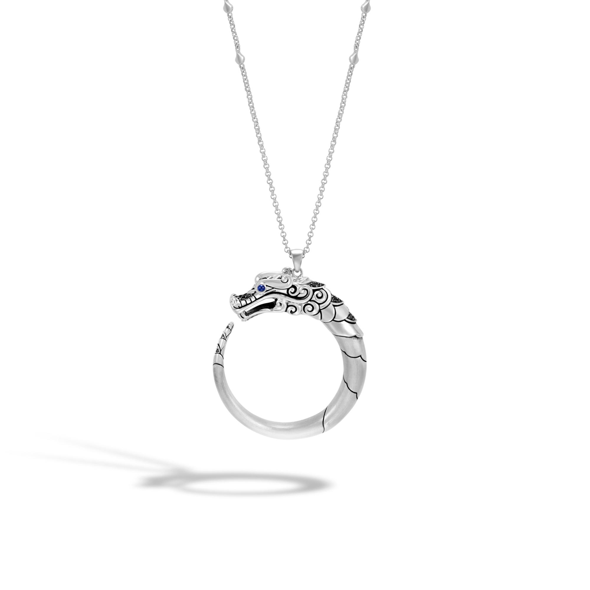 John Hardy Classic Chain Pendant Necklace, Black Sapphire, Black Spinel