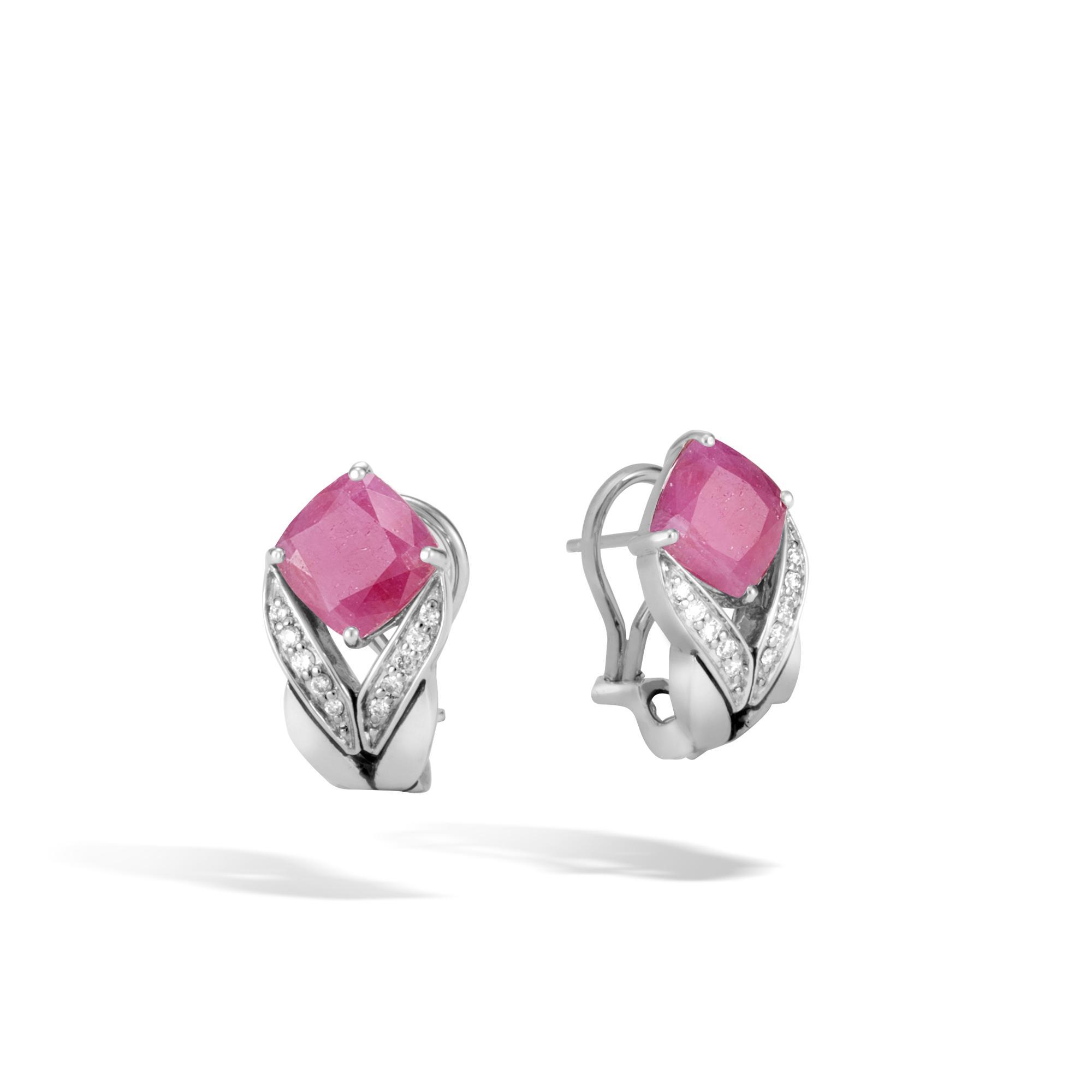 John Hardy Magic Cut Modern Chain Drop Earrings w/ Diamonds in Pink Sheen Sapphire PmLcQ3u02H