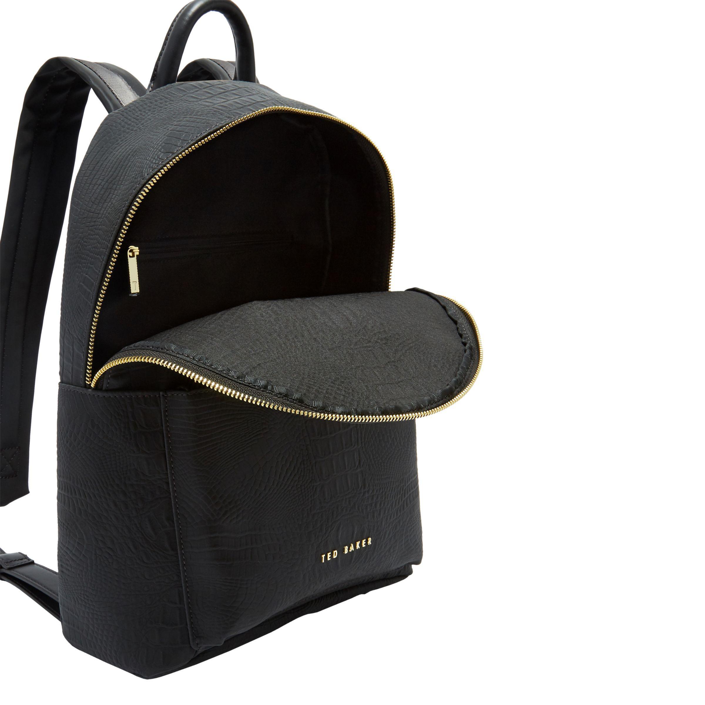 7d02b37157 Ted Baker Creaala Leather Croc Effect Backpack in Black - Lyst